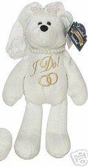 "LIMITED TREASURE BEAR - Plush Collectible 9"" Mini Wedding Bride Teddybear - I DO"
