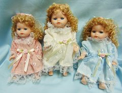 """COLLECTIBLE DOLLS: Set of (3) Collectible 8"""" Porcelain Jointed Dolls in Blue, Pink, White dresses"""