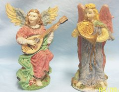 FIGURINES: Pair 1996 Angel Figurines Holding Musical Instruments by International Resourcing Services