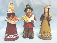 "COLLECTIBLE FIGURINES: Set of (3) Thanksgiving Figurines by K's Collection 6 3/4"" tall"
