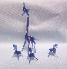 MINIATURES: Set of (4) Miniature Blown Glass Blue Giraffe Collectible Figurines