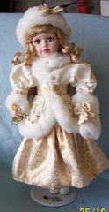 "COLLECTIBLE DOLLS: Beautiful Porcelain Wintry 17 1/2"" Doll by Camellia Garden Collection 1999"
