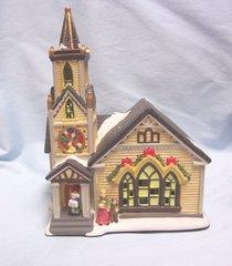 CHRISTMAS VILLAGE BULIDING: Fiber Optic THE CHURCH Ceramic by Hofter's No. 6403