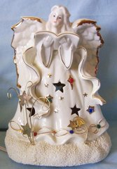 "ANGEL NIGHT LIGHT Angel Figurine Electric Night Lamp Porcelain 9"" Starry Angel Gold Trim"
