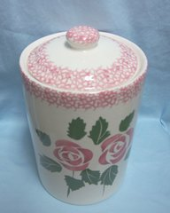 COOKIE JARS: Old Collectible Cookie Jar and Lid Hand-painted Pink Roses