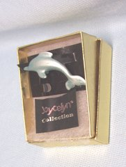 "JEWELRY: Fashionable 1.5"" Length Dolphin Pin Brooch by Joycelyn Collection Gold Gift Box"