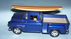 ACTION TOY - Die-cast 1955 Chevy Stepside Pick-up Truck with Surfboard KINSMART