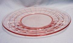 SALAD PLATES - Set of (4) Salad Plates Anchor Hocking Block Optic Pink