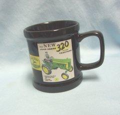 "COFFEE MUG: Collectible Ceramic John Deere Mug with Old-Time Ads 3 7/8"" Tall"