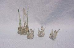 MINIATURE GLASS FIGURINES: Set of (4) Blown Glass Miniature Swan Figurines Collectible Glass Figurines
