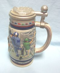 "AVON BASEBALL BEER STEIN - 1984 Baseball 8 3/4"" Beer Stein with lid Made in Brazil"