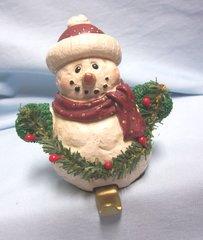 "STOCKING HOLDER: Vintage Stocking Hanger, Holder Christmas Snowman Holding Garland 5"" Tall"