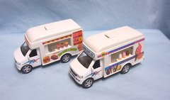 "TOYS: Pair Diecast Fast Food Truck & Ice Cream Truck 5"" Pull/Back Action by Kinsfun"