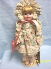 "COLLECTIBLE DOLLS: Porcelain 16"" School Girl Doll by Seymour Mann's Connoisseur Doll Collection - MARY"