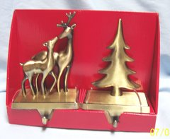 STOCKING HOLDER: Pair Gold Color Metal Stocking Holders in Box by December Home Deers & Tree