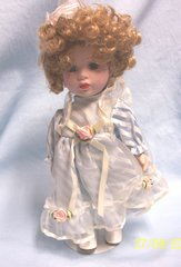 """DOLLS: Collectible 10"""" Porcelain Doll Blue Eyes Blonde Hair in Cute Stripped Attire"""