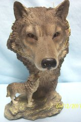 """WILD-LIFE WOLF FIGURINE - Spirit of the Wolf Figurine Collectible Polyresin 8 1/2"""" Tall"""