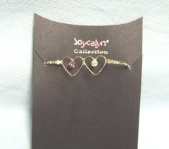 JEWELRY: Double Heart Bracelet with Pink & Clear Crystals Lobster Clasp Gift Box