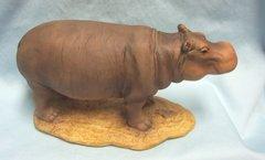 "MOTHER HIPPO ANIMAL FIGURINE - Collectible Mother Hippo Hippopotamus Wildlife Figurine 9"" Long x 4.5"" H"