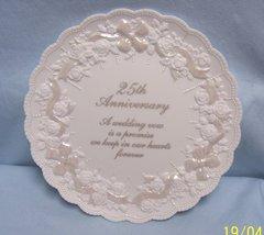 """DECORATIVE PLATE: Enesco 25th Anniversary White Decorative Plate 7 3/4"""" Dia."""