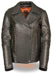 Women's Leather Classic M/C Motorcycle Jacket w/Rivet Detailing ML1948