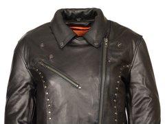 Women's Milwaukee Leather Classic M/C Motorcycle Jacket w/Rivet Detailing ML1948