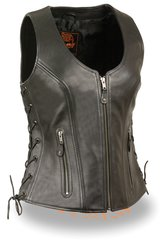 Ladies Black Open Neck Leather Vest w Side Lace MLL4531