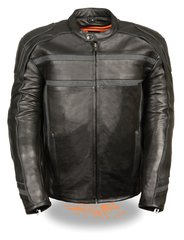 Men's Reflective Band/Piping Scooter Leather Motorcycle Jacket ML2083