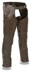 Men's Milwaukee Leather Retro Brown Four Pocket Chap w/Snap Out Thermal Liner ML1191RT