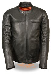 Men's Longer Body Vented Scooter Leather Motorcycle Jacket MLM1560