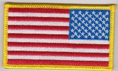 Reverse American Flag with Glod Border