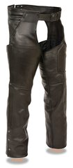 Men's Leather Three Pocket Motorcycle Chap w/Thigh Patch Pocket ML1766