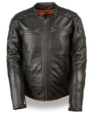 Men's Full Side Lace Vented Leather Scooter Motorcycle Jacket MLM1580