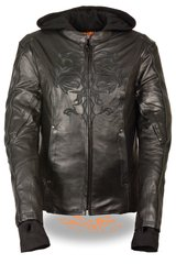 Women's Leather 3/4 Motorcycle Jacket w/Reflective Tribal Detail