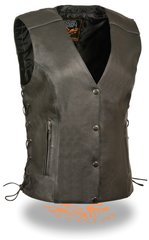 Ladies Black Leather Club Biker Vest with Reflective Piping MLL4500