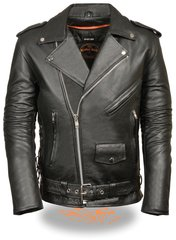 Men's Classic Side Lace Police Style M/C Leather Motorcycle Jacket SH1011