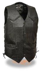 Men's Classic Side Lace Biker Vest w/ Braiding EL1314G