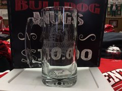 Glass Mug - Etched with Bulldog & School