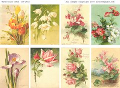 1452 Watercolor ATCs Printable