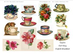 3032 Tea Party Flowers Printable