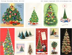 1114 Vintage Christmas Trees  digital