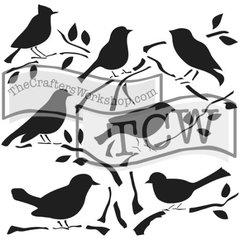 Stencil Chirpy Birds 6x6
