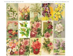 708 Victorian Flower Cards Printable