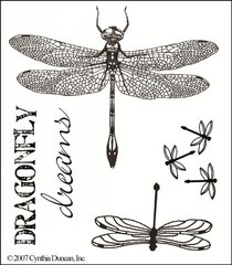 Dragonfly Dreams Red Rubber Stamp