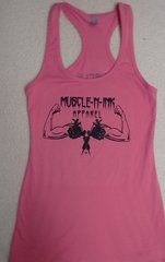 Womens Hot Pink Racerback Tank (front and back)