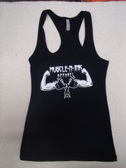 Womens Black Racerback Tank (front and back)