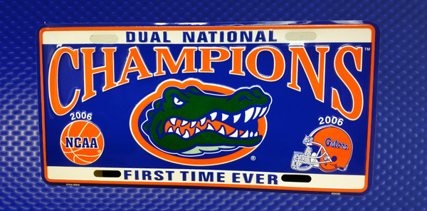 Gator Front License Plates - 06 Football and Basketball Champions | Gators DVD