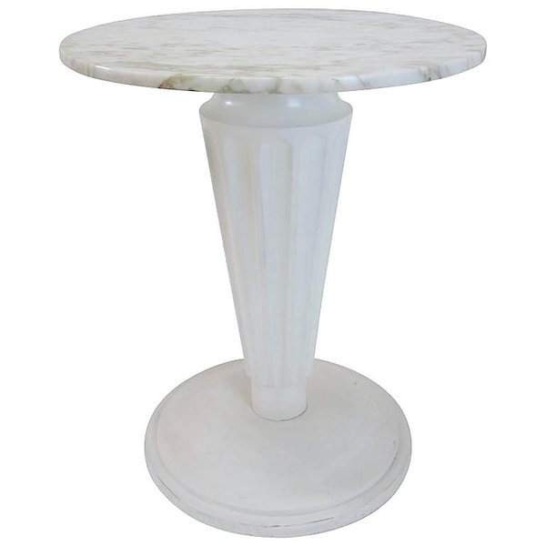 Marble top fluted pedestal side table joseph anfuso for Fluted pedestal base
