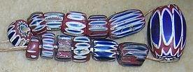 Antique Glass Chevron Beads