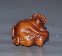 Netsuke: Monkey with Papaya